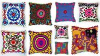 """Indian Square Suzani Pillow Case 16"""" Embroidered Decorative Throw Cushion Cover"""