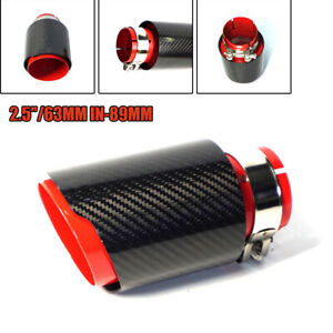 """Carbon Fiber Red Car Exhaust Tip Muffler End Pipe 2.5""""/ 63MM  Inlet Universal"""