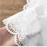 1 Yard(90cm)Embroidery Floral Cotton Lace Trim Ribbon Wide Wedding Fabric Sewing
