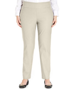 Charter Club Women's Beige Tummy Control Slim Leg Pull On Pants Size 24W