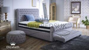 Sleigh Bed Frame Chesterfield Bed in Soft Plush Velvet Sale 6FT Super King Size
