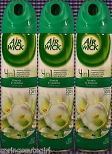 3 Bottles AIR WICK FREESIA & JASMIN 4 IN 1 Air Fresheners Room Spray