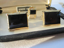 MINT!  Dante Gold-Tone Cufflinks and Tie Tack with Onyx Stones, NOS