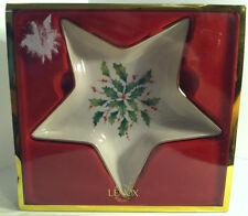 Lenox Holiday Star Candy Dish Holly & Berries Nib