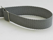 Grey braided nylon 18mm vintage watch band tropical type NOS 1960s silver buckle