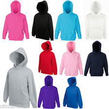 FRUIT OF THE LOOM CHILDS GIRLS BOYS HOODED TOP HOODIE SWEATER JUMPER PULLOVER