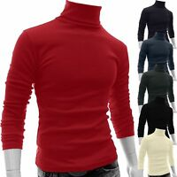 Mens Long Sleeve High Neck Pullover Knit Jumper Sweatshirt Tops Sweater Blouse