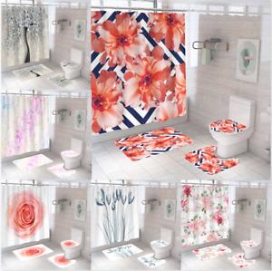 Flowers Waterproof Polyester Fabric Bathroom Shower Curtain Art Decor 180cm