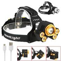 90000LM 5X XM-L T6 LED USB Headlamp Zoom Headlight Camping Fishing Head Torch ZH