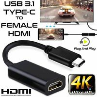 USB Type-C to HDMI Adapter USB 3.1 Cable For MHL Android Phone Tablet Black