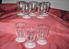 Very Pretty Etched cordial/Juice/Wine Glasses w/Frosted Bottoms - Lot of 8
