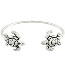 Turtle Cuff Bracelet Bangle Beach Sea Life Stackable Metal SILVER Surfer Jewelry