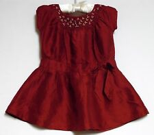 "Janie & Jack ""Uptown Holiday"" Red Smocked Silk Lined Dress, 6-12 mos."
