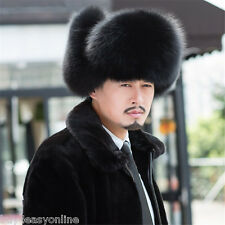 2015 Winter bomber fur hat male outdoor genuine leather cap fox fur hat