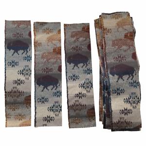 "Pendleton Remnant Fabric Prairie Rush Hour Buffalo Print Wool Cotton 19"" x 4.25"""