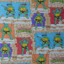 Vtg 1988 Teenage Mutant Ninja Turtle Tmnt Twin Flat Bed Sheet Fabric Material