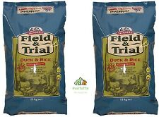 2x 15KG BAGS SKINNERS FIELD & TRIAL DUCK & RICE HYPOALLERGENIC DRY DOG FOOD 30KG