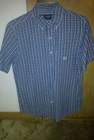 Ralph Lauren Chaps blue plaid short sleeve buttondown casual shirt size small