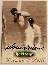 1995 FUTERA HERITAGE CRICKET COLLECTION CARD N0 46/60 SIGNED NORMAN O'NEILL