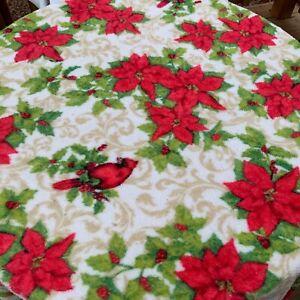 Fleece Throw Blanket Lap 50 x 60 Christmas pattern red cardinal poinsettias