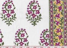 Cotton Floral w Borders Hill Brown Drapery Fabric Fleur de Kashmir CL Pink Green