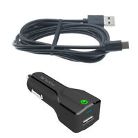 For Galaxy A01 A51 - CAR CHARGER 24W FAST 2-PORT USB 6FT CABLE TYPE-C TURBO DC