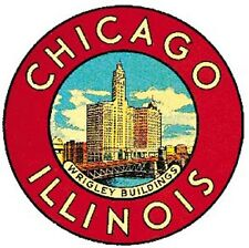 Chicago Illinois    round  Vintage Looking  Travel Decal Sticker Luggage Label