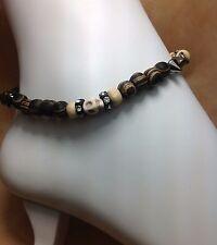 Howlite Skull Gemstone Wood Ankle Bracelet/Anklet W/Swarovski Elements USA