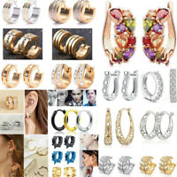 Fashion Women's Gold Silver Elegant Crystal Rhinestone Beaded Ear Stud Earrings