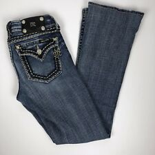 Miss Me Signature Boot Stretch Jean Size 26 Embroidered Pockets Stretch Low Rise