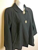 Vintage Black Swing Jacket Size 6 Retro 1940s Look Rhinestone Buttons Lined EUC!