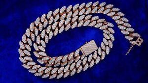 430 Grams Pink and White Gold Miami Cuban 58 Carats Big Diamonds 2 Tone Prongs.
