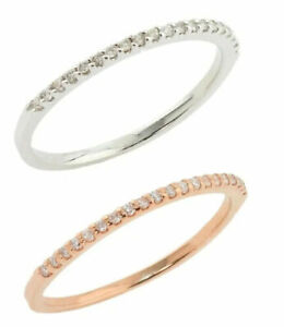 Solid 14k White Gold Diamond Half Eternity Band Stackable Ring Endless Wedding