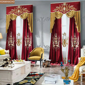 upscale luxury embroidered velvet thick cloth blackout curtain valance B648