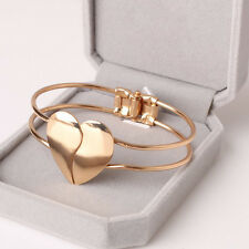 Fashion Women Lady Gold Crystal Open Cuff Bangle Love Heart Bracelet for Gift