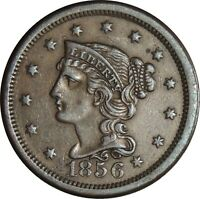 1856 1C Braided Hair Large Cent  XF+ Details Scratches Rim Dmg Reverse 050221312