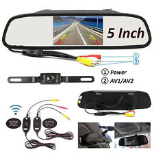 5INCH LCD TFT Car Rear View Mirror Monitor + Wireless Backup Reverse IR Camera