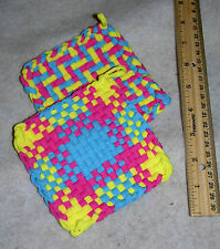 """Handmade Polyester Loop Woven Potholders Set Of 2 4-1/2"""" Sq Pink, Blue & Yellow"""