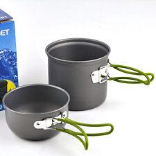 Portable Cooking Set Aluminum Nonstick Pot Bowl Outdoor Camping Hiking Survival