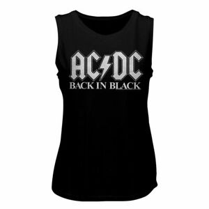 ACDC BACK IN BLK 2-Front Print-Black Ladies Muscle Tank Top Size 2XL