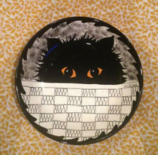 Cats By Nina Lyman Hand-Painted Collectible Cat Bowl, Black Cat, 12 Inch, Signed