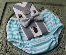 1st Birthday boy cake smash diaper cover bow tie boy clothes Mint stripe gray