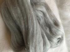 Silver Mist Grey 25g Merino Angelina Mix Felting, Fibre Arts Spinning. Crafts