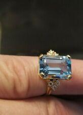 11.62 ct Genuine Emerald Cut Swiss Blue Topaz & Diamond Ring In Yellow 14k Gold