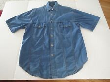 Mens Harley Davidson Motorcycle Short Sleeve Button Blue Jean T-shirt Small