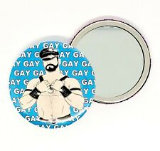 GAY LEATHER MAN FETISH BEAR HAND POCKET MAKEUP MIRROR