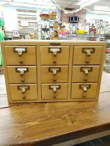 Antique Library Card Catalog Apothecary Wood Cabinet 9 Drawer Oak