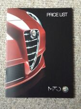 ALFA ROMEO MITO Range 2014/15 Price List Brochure (16 pages)