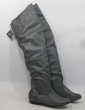 Gray Comfortable Flat Round Toe Long Back Elastic THigh High Boots Size 7