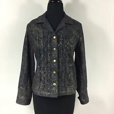 Women's Coldwater Creek Lightweight Denim & Gold Stud Jacket Size 10 Petite